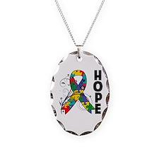 Hope Floral Ribbon Autism Necklace
