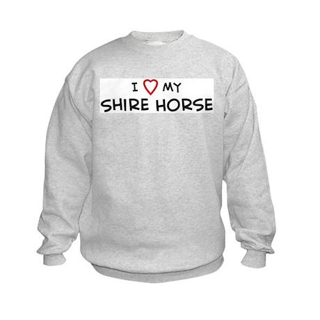 I Love Shire Horse Kids Sweatshirt