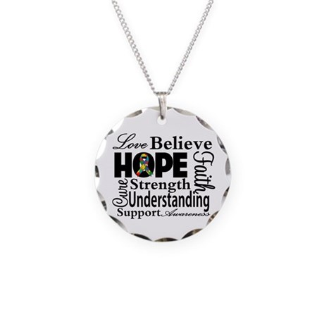 Love Believe Hope Autism Necklace Circle Charm