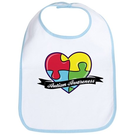 Autism Awareness Heart Puzzle Bib