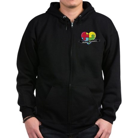 Autism Awareness Heart Puzzle Zip Hoodie (dark)