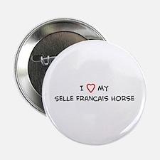 I Love Selle Francais Horse Button