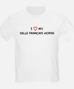 I Love Selle Francais Horse Kids T-Shirt