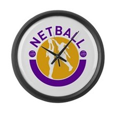 netball player shooting Large Wall Clock