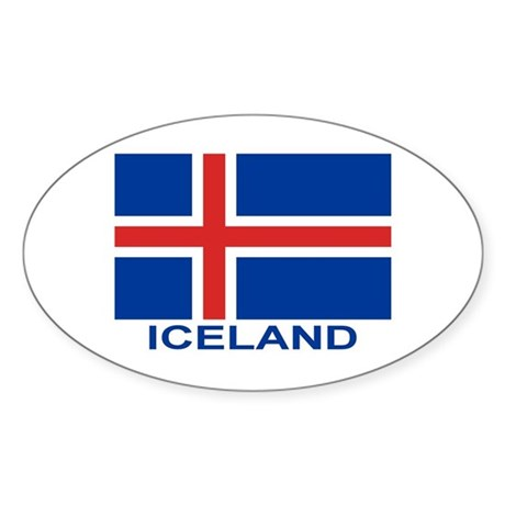 Icelandic Flag (labeled) Sticker (Oval)