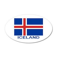 Icelandic Flag (labeled) 22x14 Oval Wall Peel