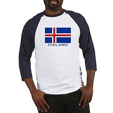 Icelandic Flag (labeled) Baseball Jersey