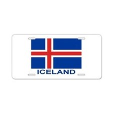 Icelandic Flag (labeled) Aluminum License Plate