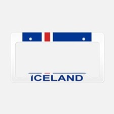 Icelandic Flag (labeled) License Plate Holder