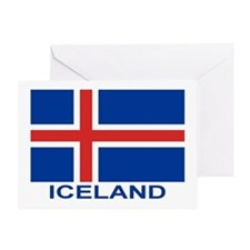 Icelandic Flag (labeled) Greeting Card