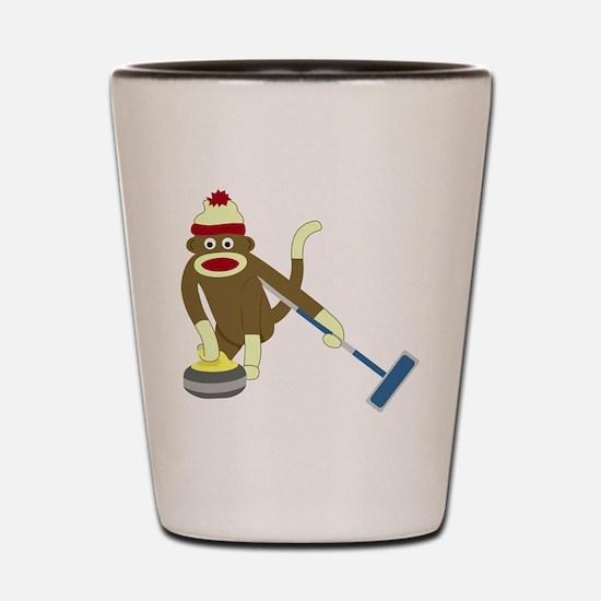 Sock Monkey Olympics Curling Shot Glass