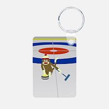 Sock Monkey Olympics Curling Aluminum Keychain