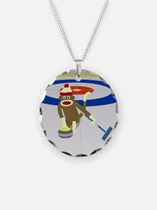 Sock Monkey Olympics Curling Necklace