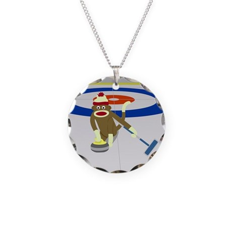 Sock Monkey Olympics Curling Necklace Circle Charm