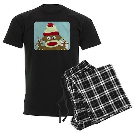 Sock Monkey Angel & Devil Men's Dark Pajamas
