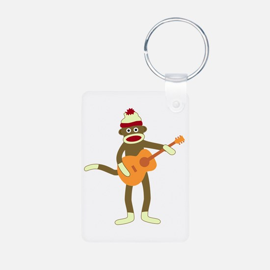 Sock Monkey Acoustic Guitar Aluminum Keychain