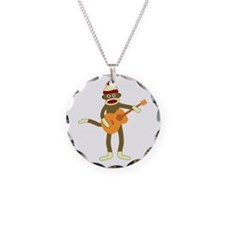 Sock Monkey Acoustic Guitar Necklace Circle Charm