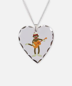 Sock Monkey Acoustic Guitar Necklace