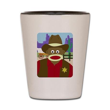 Sock Monkey Cowboy Shot Glass