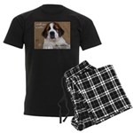 St Bernard Puppy Cookie Men's Dark Pajamas