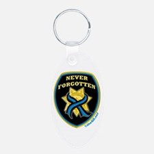 Thin Blue Line NeverForgotten Aluminum Oval Keycha