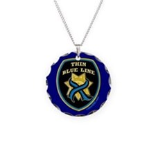 Thin Blue Line Ribbon Shield Necklace