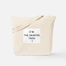 I'M THE SMARTER TWIN Tote Bag