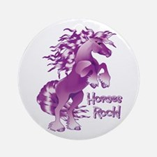 Purple Horses Rock Ornament (Round)
