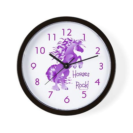 Purple Horses Rock Wall Clock