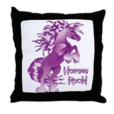 Purple Horses Rock Throw Pillow