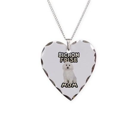 Bichon Frise Mom Necklace Heart Charm