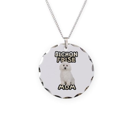 Bichon Frise Mom Necklace Circle Charm