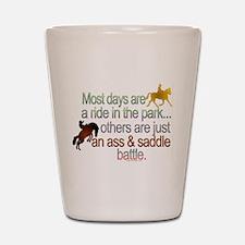 """Ass And Saddle Battle"" Shot Glass"