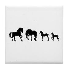 Cute Friesian horse Tile Coaster