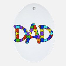 Dad Autism Awareness Ornament (Oval)