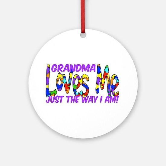 Grandma Loves Me Autism Aware Ornament (Round)