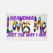 Grandma Loves Me Autism Aware Rectangle Magnet