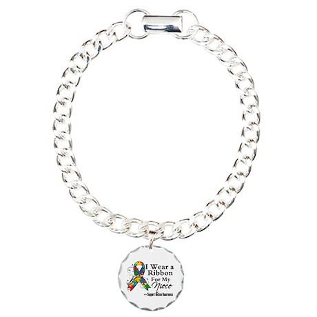 Niece - Autism Ribbon Charm Bracelet, One Charm