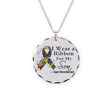 Son - Autism Ribbon Necklace Circle Charm