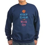 Keep Calm Wag On Sweatshirt (dark)