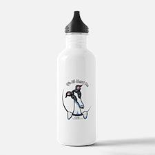 White Black Greyhound IAAM Water Bottle