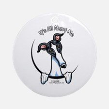 White Black Greyhound IAAM Ornament (Round)
