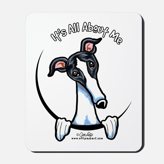 White Black Greyhound IAAM Mousepad