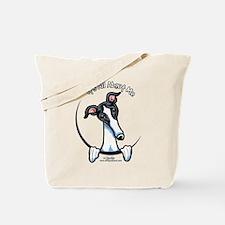 White Black Greyhound IAAM Tote Bag
