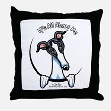 White Black Greyhound IAAM Throw Pillow