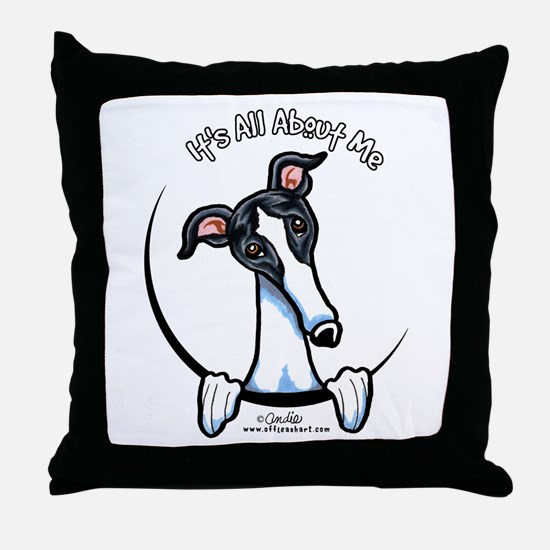 White Black Greyhound IAAM Throw Pillow