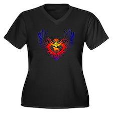 Border Collie Women's Plus Size V-Neck Dark T-Shir