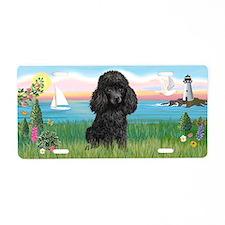 Lighthouse-Black Poodle Aluminum License Plate