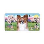 Blossoms-Red Papillon Aluminum License Plate