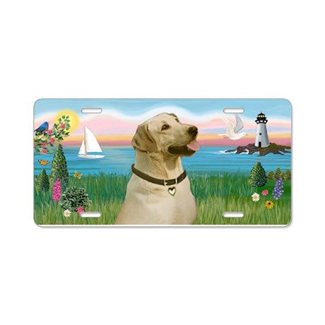 Lighthouse-Yellow Labrador Aluminum License Plate
